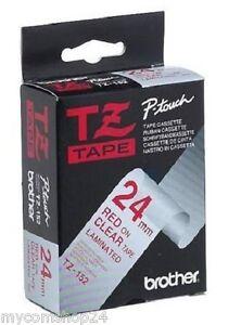 Original-Brother-TZ-152-8-m-Tape-24-mm-Band-P-Touch-rot-auf-klar-NEU-OVP