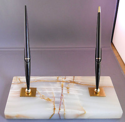 Parker Vintage Double White Marble Desk Set Working
