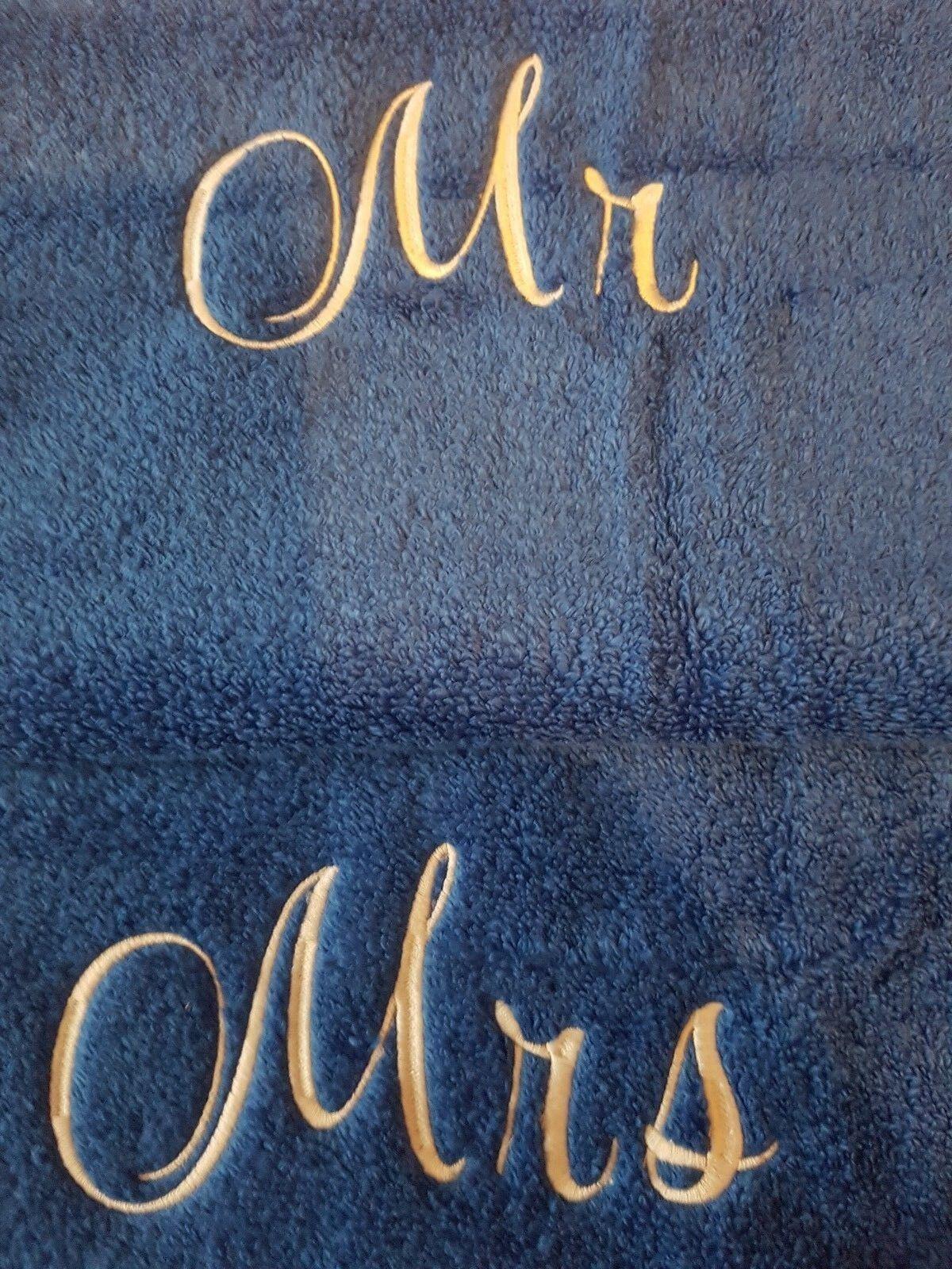 Ricamato Mr e Mrs Royal blu Asciugamano da bagno bagno bagno dimensioni Foglio Set 100% Cotone Matrimonio 8ff70e