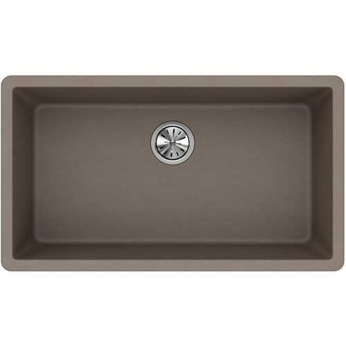 Elkay Quartz Classic Undermount Composite 33 in. Single Bowl Kitchen Sink  Greige