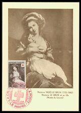 France MK 1953 CROCE ROSSA RED CROSS tipo Louvre carte MAXIMUM CARD MC cm ax25