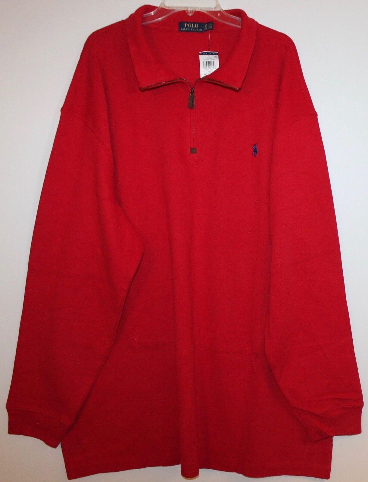 Polo Ralph Lauren Big and Tall  Herren ROT 1/2 Zip Cotton Sweater NWT 125 3XLT