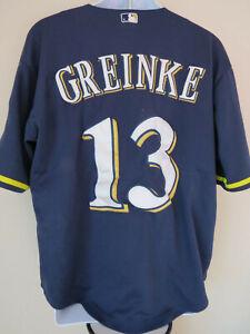 Vtg-MAJESTIC-MILWAUKEE-BREWERS-MLB-13-ZACK-GREINKE-Baseball-Jersey-Navy-L-50
