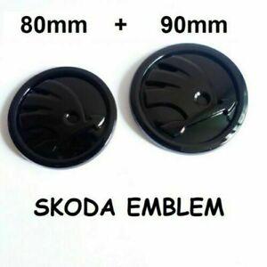 2-x-FIT-FOR-Skoda-Set-90-80mm-Front-Rear-Hood-Trunk-Emblem-Badge-Gloss-Black