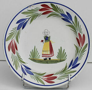 assiette moderne en faience de quimper henriot a la bretonne d 24 cm ebay. Black Bedroom Furniture Sets. Home Design Ideas