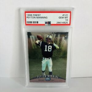 Peyton-Manning-1998-Topps-Finest-PSA-10-Rookie-Card-121-HOF-Bound