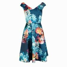 COAST PERMONA NAVY BLUE FLORAL FIT N FLARE 50'S COCKTAIL DRESS 10 ONCE £135