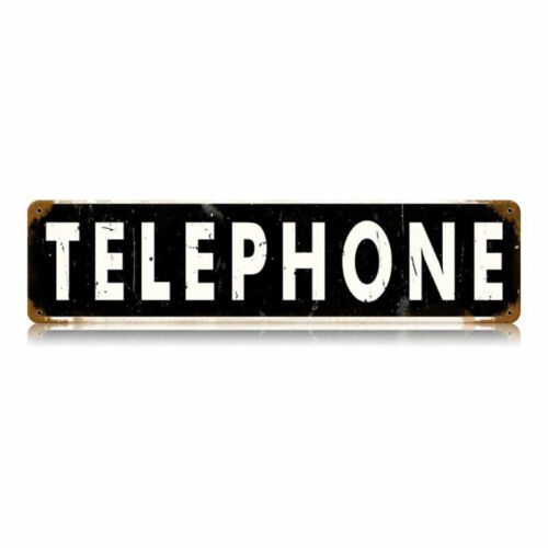 VINTAGE SIGN Made USA Telephone 20 x 5