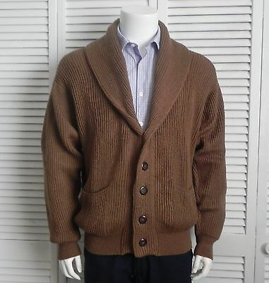 NEW Mens SIZE XXXL 3XL ALPACA Camel Brown Ribbed Shawl Collar Cardigan Sweater