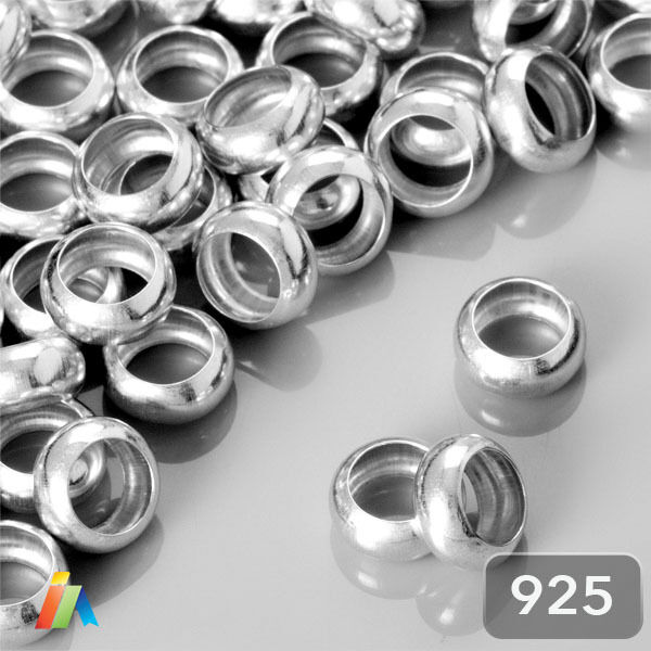Sterling Silver 8mm Smooth Donut Shaped Beads Sold Per 2 Pieces