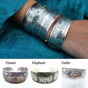 Women-Retro-Tibetan-Tibet-Silver-Totem-Bangle-Cuff-Bracelet-Jewelry-Adjustable