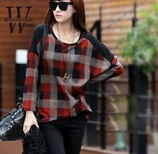 Red Black Checked  Batwing Sleeve Woman Top