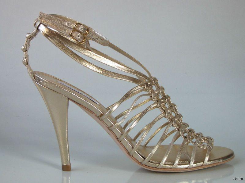 new 295 Pour La Victoire light gold Leder strappy heels schuhe 9 - very dressy
