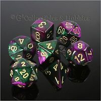 NEW 7pc Set Purple Green Gemini Dice in Box RPG Game D&D 7 piece Chessex D20 +