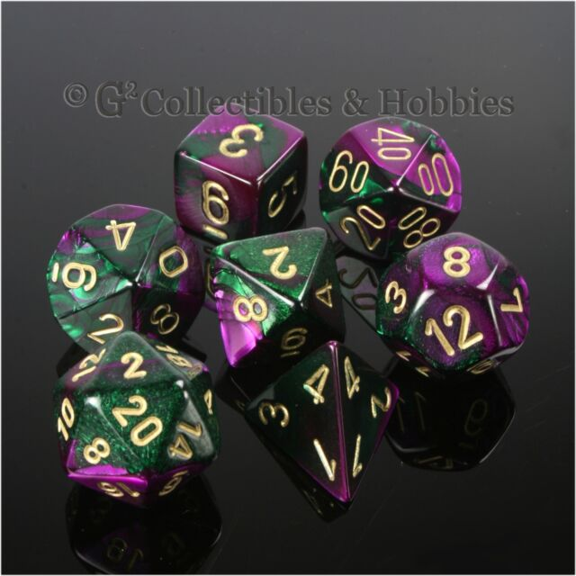New Chessex Polyhedral Dice Set with Bag Purple Steel Gemini 7 Piece Set DnD RPG