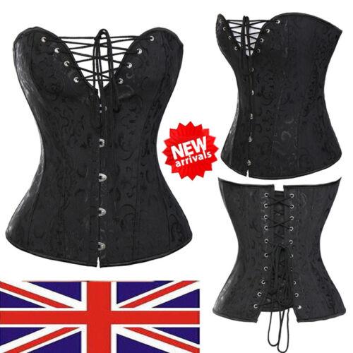 Women New Black Basques Burlesque Vintage Overbust Boned Party Corsets Bustier