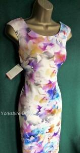 New-MONSOON-UK-18-Ivory-Pink-Scuba-Stretch-BLOSSOM-Pencil-Wedding-Shift-Dress