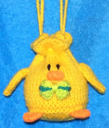 Easter Chick Drawstring Bag 10cms fits Choc orange KNITTING PATTERN