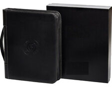 Hustle Folio Professional Leather Binder Portfolio Zippered Folio Black 3 Ring