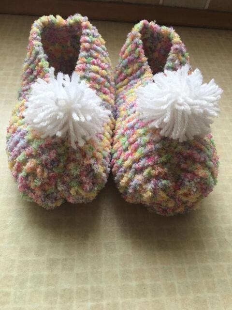 Easy All Square Pompom Chenille Slipper Socks Knitting Pattern