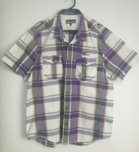 Duck-And-Cover-Men-039-s-Short-Sleeve-Check-Shirt-Size-XXL