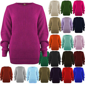 Womens-Chunky-Baggy-Jumper-Ladies-Long-Sleeve-Plain-Knitted-Sweater-top
