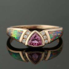 NEW Kabana Pink Sapphire, Opal, & Diamond Ring - 14k Rose Gold Size 7 3/4