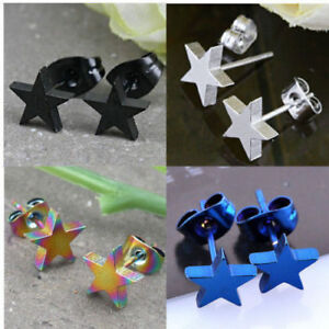 PAIR-OF-MENS-BOYS-WOMENS-GIRLS-STAINLESS-STEEL-STAR-STUD-EARRING-UK-SELLER