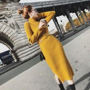 lato cintura con donna Lc vestito maglione manica pullover Moda lunga qFaRHap