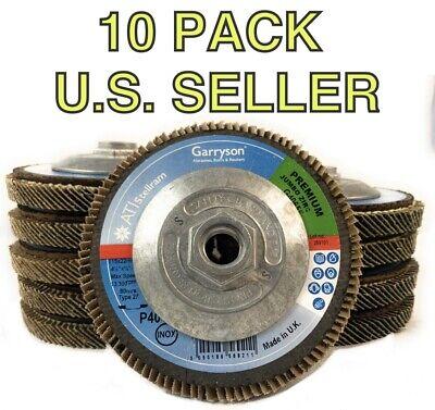 "4.5/"" x 7//8/"" 10 Jumbo Aluminum Oxide FLAP DISC 40 Grit Garryson made in U.K"