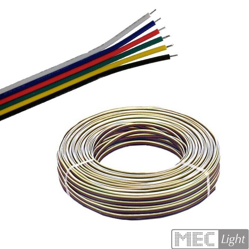 (  m) 5m-100m LED RGB+CCT Kabel 6-adrige flache Leitung (6x 0,14mm²) Litze