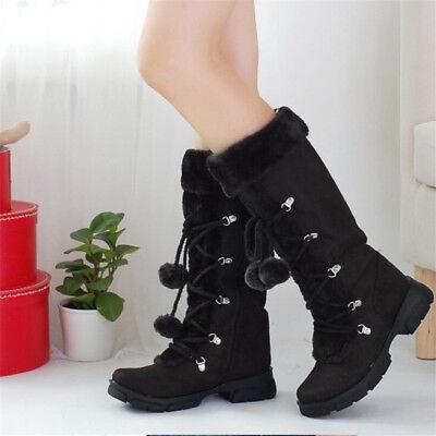 <b>Women's</b> Warm Fur Lined <b>Snow Boots</b> Zipper Mid Calf Flat Winter ...