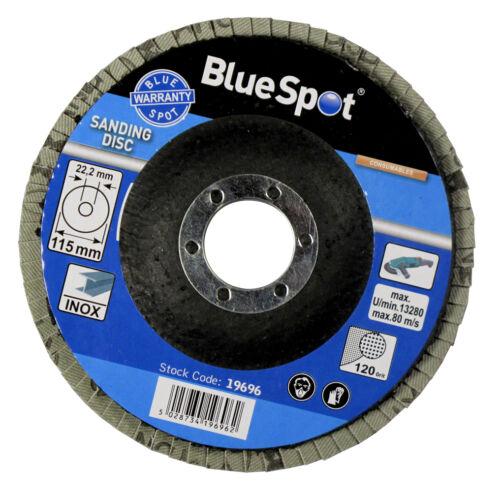 "FLAP DISCS 115mm SANDING 40 60 80 120 GRIT GRINDING WHEELS BLUE SPOT 4.5/"" MIXED"