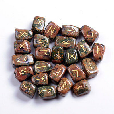 Ryolite Rune Stones Engraved Lettering Crystal Set W/ Free Pouch Wiccan Pagan