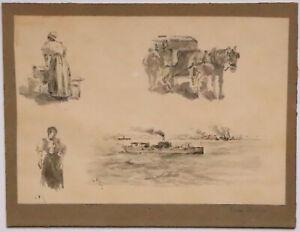 Bien Informé Louis Favre Peinture Feuille Etudes 4 Dessins Lavandiere Attelage Femme Chevaux