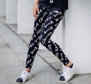 Details about MED adidas Women's Slim Fit HU AOP FASHION LEGGINGS by Pharrell BLACK last1