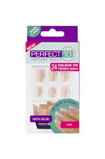 PERFECT 10 INSTANT FALSE NAIL FRENCH PINK COLOUR FAKE TIPS NAILS WITH GLUE