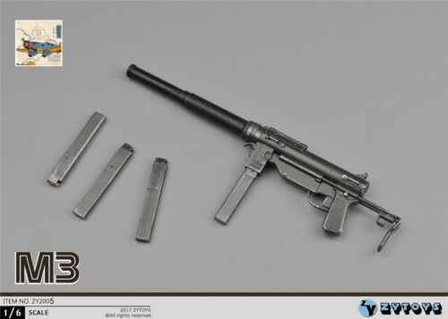 1:6 Scale Action Figure ZYTOYS WW2 USMC M3 SUBMACHINE GREASE GUN MODEL 70344