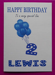 PERSONALISED 2nd Birthday Card Baby BOY Balloons SECOND Birthday