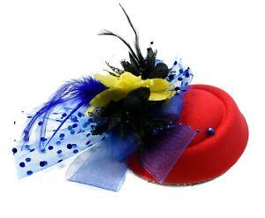 8ab1016cec7 Red Black Blue Ye Pillbox Wedding Hat Ladies Headpiece Felt ...