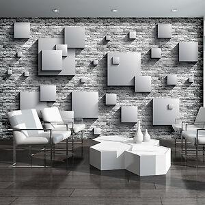 vlies fototapete tapete tapeten poster grau quadrat wand kunst 3d foto 3fx3443ve ebay. Black Bedroom Furniture Sets. Home Design Ideas