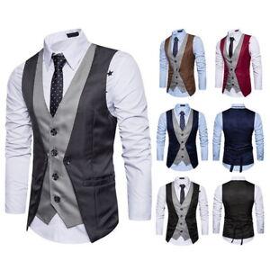 Mens-039-Formal-Business-Suit-Vest-Slim-Wedding-Casual-Waistcoat-Simulation-II-Coat