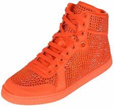 NEW Gucci Women's Coda Orange Satin Effect Crystal Stud High Top Sneakers 39 9
