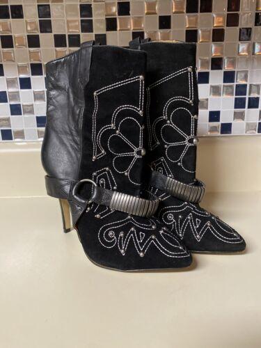 Buffalo london Black biker boots Leather & Suede E