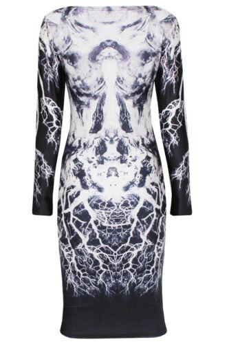 bianco UK8,10 Celebrity Stile Monocrome Stampato Vestito aderente maniche lunghe nero