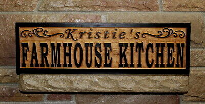 Custom Farmhouse Kitchen Sign Wood Carved Personalized Rustic Farmhouse Decor Ebay