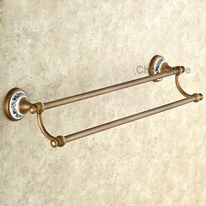Antique-Bronze-Double-Row-Bathroom-Towel-Rail-Holder-Wall-Mount-Storage-Rack-Bar