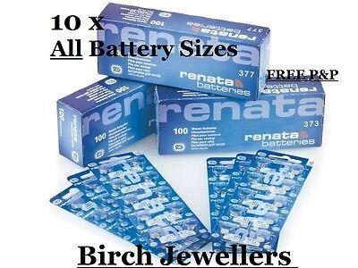 10 X Renata Watch Battery - Swiss Made - Joblot - Silver Oxide Renata Batteries