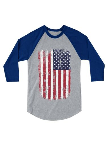 USA Vintage Flag 4th of July American 3//4 Sleeve Baseball Jersey Toddler Shirt