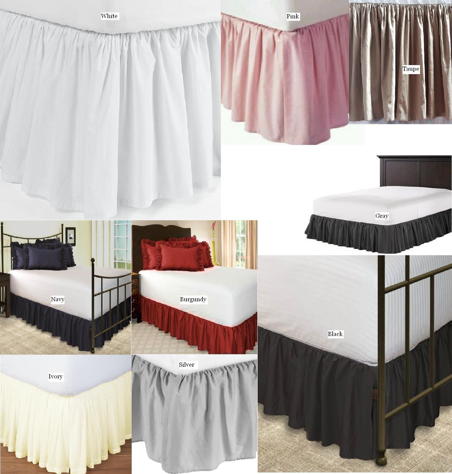 Solid 650 TC Cotton SPLIT Corner Ruffle Bed Skirt All Size Drop 18  20  22  SALE